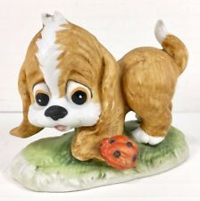 Lefton China Hand Painted Brown Puppy Dog Looking at Ladybug Vintage Figurine