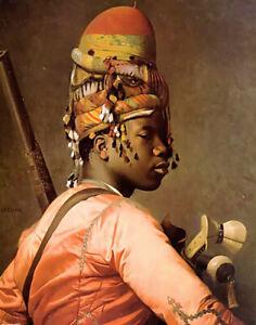 Oil painting Jean-Léon Gérôme - black bashi bazouk young boy portrait on canvas