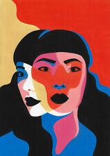 original painting A4 508KV art samovar modern acrylic Surrealism female portrait