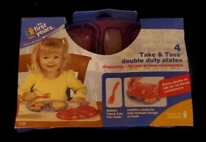 """New """"The First Years Take and Toss Double Duty Plates"""" ~ 4 Pack With Bonus Fork"""