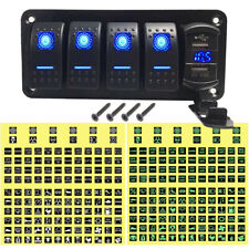 5 Gang Toggle Rocker Switch Panel with USB for Car Boat Marine Truck Blue LED