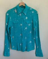 Adiktd Western Shirt Womens Turquoise Pearl Snap Long Sleeve Sequin Design Sz XS