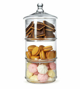 MyGift 3 Tier Stacking Round Apothecary Storage Glass Jars Candy Container Dish
