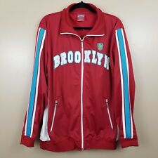 NWT Brooklyn Xpress Mens Red and Striped Sleeve Brooklyn Varsity Jacket Size XL