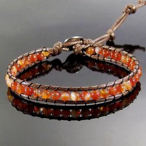 Handmade Wrap Knitted Adjustable Leather Bracelet Natural Gemstone 4mm Beads