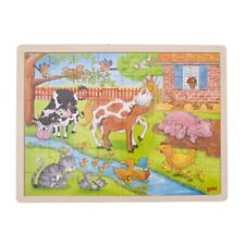 Puzzle Holzpuzzle Einlegepuzzle Leben auf dem Bauernhof 48 Teile Goki 57745