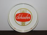 """VINTAGE BAR 13 1/4"""" ACROSS SCHAEFER OLDEST LAGER BEER  METAL SERVING TRAY"""