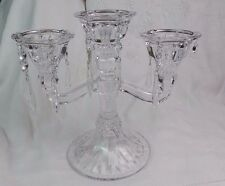 MID CENTURY CRYSTAL CANDELABRA WITH PRISMS 3 ARMS