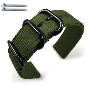 Green Nylon Watch Band Strap Belt Army Military Ballistic Black Buckle #6034