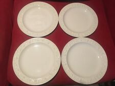 "SET of 4 Wedgwood Queensware Jasperware Embossed White on Cream 10"" Plates NICE!"
