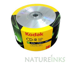 50 Genuino Kodak No Imprimible Cd-r 52x 700MB 80 minutos en Blanco Discos de CD