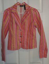 Rare DKNY Jeans PINK Denim Jacket 3 Button Blazer Striped Women Ladies Sz M EUC