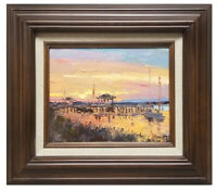Framed oil painting of impressionistic landscape boat dock with nice wood frame