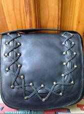 Lord and Taylor Vintage Black Leather Shoulder/Saddle Flap Bag w/Lacing Detail