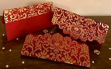 Set Of 5* Red Royal Vintage Laser Cut Wedding Invite Shagun Money Gift Envelopes