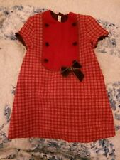 Dolce Petit Oilily style Girls Red Cream Check Wool Mix Autumn - Winter Dress