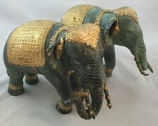 Circa Mid Century Verdigris Die Cast Metal Thailand Figurines Pair of Elephants