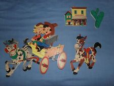 """New listing Vintage 1952 Dolly Toy Co. Cowboy Indian Wall Pin Up Decor """"Buckaroos"""" #264"""