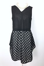 JAEGER London Black & White Polka Dot Lagenlook Tunic Long Top/Dress 8UK RRP£399
