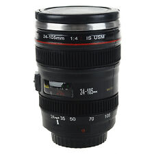 Black SLR Camera Lens Shape Stainless Steel Cup Tea Travel Mug W/ Lens Lid 50ML