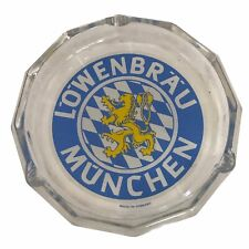 """Vintage Lowenbrau Munchen Glass Ash Tray Large Ashtray 7"""" Made in Germany"""