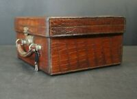 Beautiful Antique Crocodile Dressing Suitcase With Key