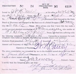 Prohibition Prescription Irish Whiskey Antique Pharmacy Doctor Bar TX Texas 1924