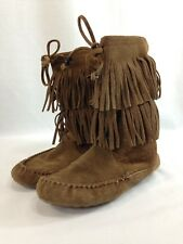 Minnetonka Moccasin Boots Womens 6 Brown Leather Suede Fringe Flats Pull On