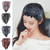 Women Girls Lace Flower Headband Hairband Wide Alice Band Hair Hoop Accessories