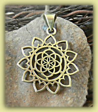 Geometric Brass Tribal Flower Of Life Pendant Ethnic Necklace Gold Free Chain