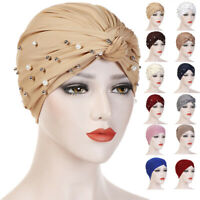 Womens Beads Turban Hat Muslim Cancer Chemo Hair Loss Cap Hijab Solid Head Scarf
