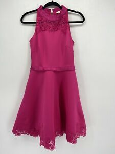 Ted Baker London Pink Ruffle High Neck Fit and Flare Lace Trim Dress Size 0