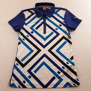 Puma Womens Size XS Blue White Geometric Print Golf Polo Shirt Polyester