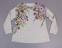 Denim And Co Women's Studio Floral Print Long Sleeve Top JM4 Grey Size XS