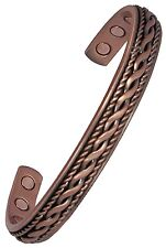Mens or Womens Magnetic Therapy Bracelet Central Rope Copper Bangle New