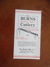 1930s Burns Mfg Co Serrated Edge Cutlery Knife Catalog Brochure Syracuse Vintage