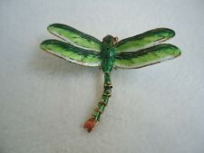 Spring Green Dragonfly Articulated Tail Cloisonne Metal Ornament