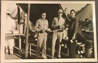 RPPC Military Real Photo Postcard ~ Army Soldiers At Mess Tent ~ Pre WW II Era