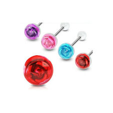 T#138 - 4pcs Embedded Rose Tongue Rings Tounge Barbells