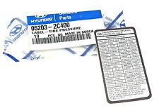Genuine New HYUNDAI TYRE PRESSURE INFORMATION DECAL For Coupe GLS 16V V6 01-09