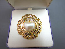 NIB Monet Heart Designer Brooch Gold Plated Faux Pearl Stone Mothers Day