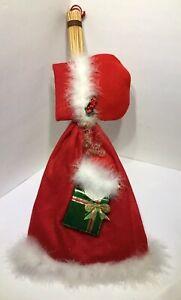 Handmade Christmas Red Felt White Feathers Dress Girl Straw Broom Wall Hanger