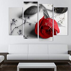 4pcs/Set Tableaux Photo Séparé de Fleur Rose Rouge Décoration Mural Séjour