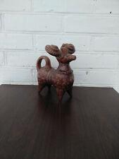 Vintage Handmade Pottery Ceramic Glaze Figurine Sheep Goat 60s Folk Pottery