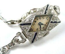Platinum Diamond Art Deco Dinner Watch-14k White Gold Deco Band