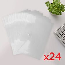 24X A4 Document Wallet Plastic Stud Paper Storage Coloured Folders Filing Office