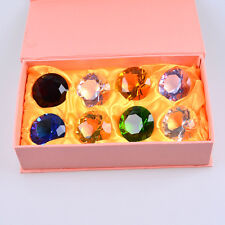 """LONGWIN Box 8 Color 40mm Crystal Diamond Shaped Paperweight Solid Color 1.57"""" W"""