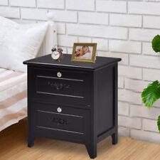 Solid Wood Elegant Night Stand W/2 Locking Drawer Storage Shelf End Table Black
