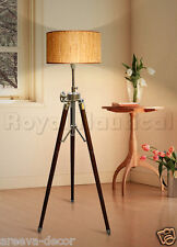 Nautical Teak Wood Marine Vintage Floor Lamp Wooden Tripod Stand  Without Shade.