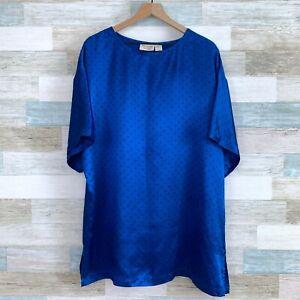Victorias Secret VTG 90s Satin Night Shirt Blue Oversized Tie Print Womens Large